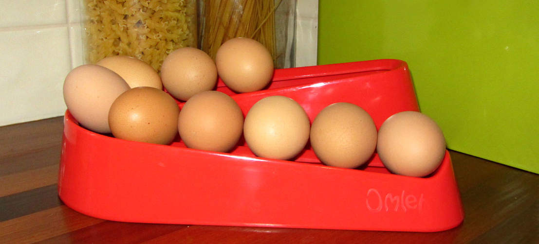 La rampe à œufs rouge d'Omlet